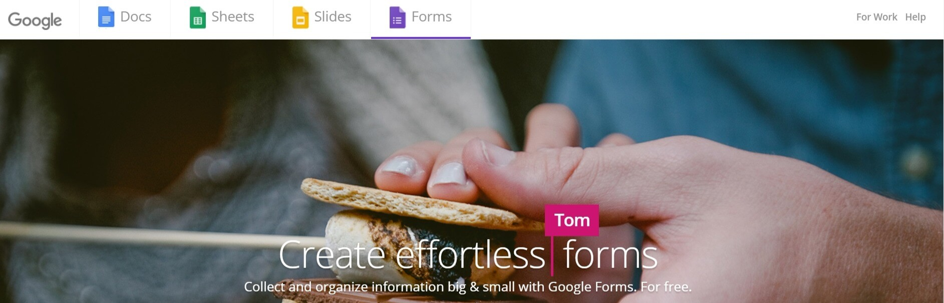 The Google Forms homepage