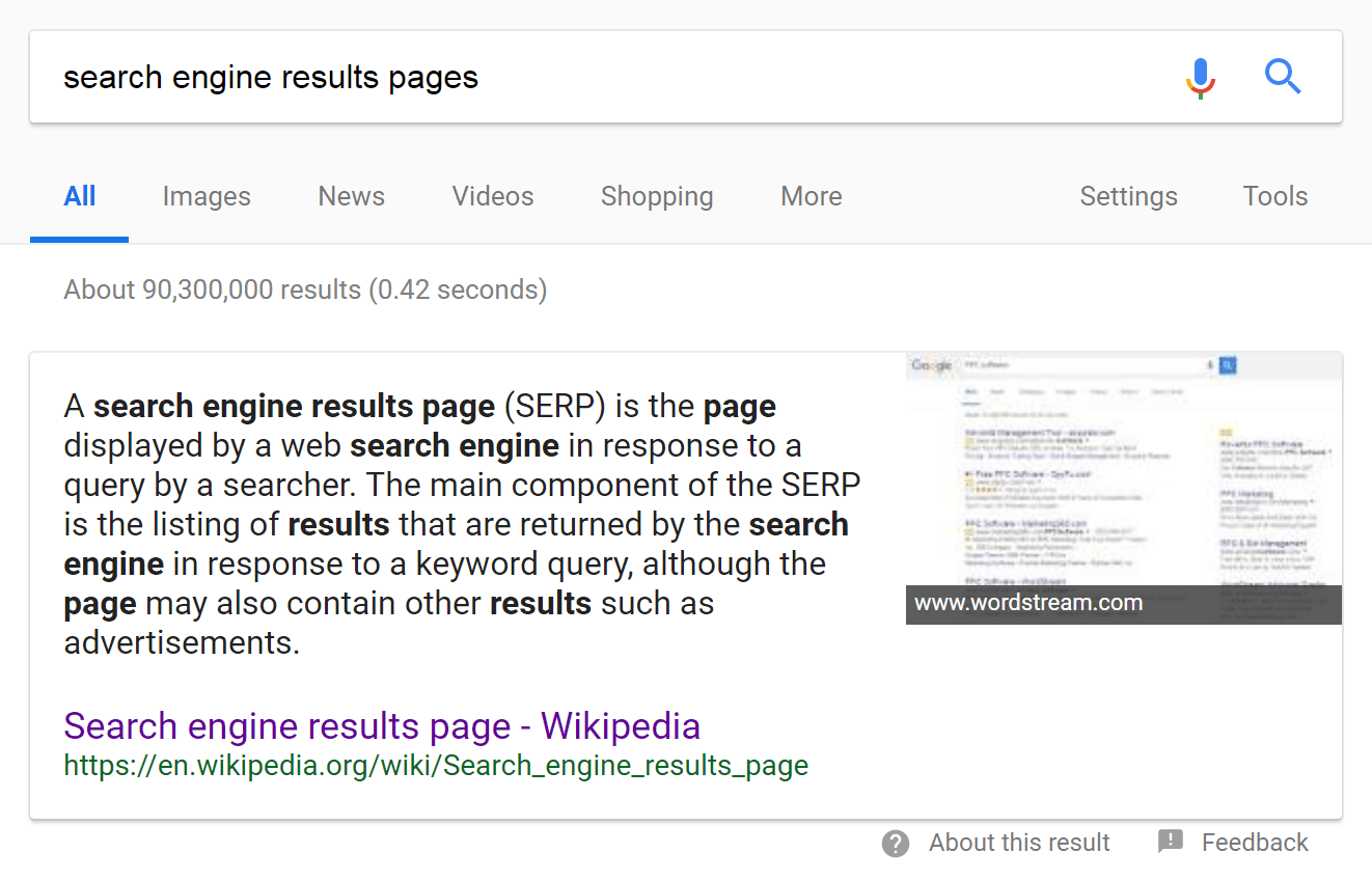 An example of a Google Search Engine Results Page (SERP)