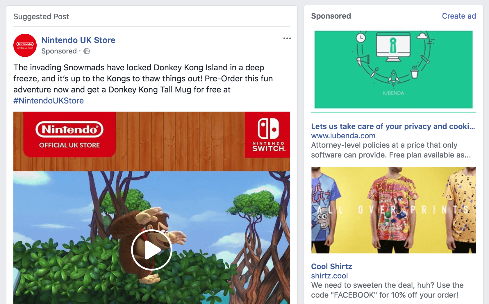 Three examples of adverts on Facebook.