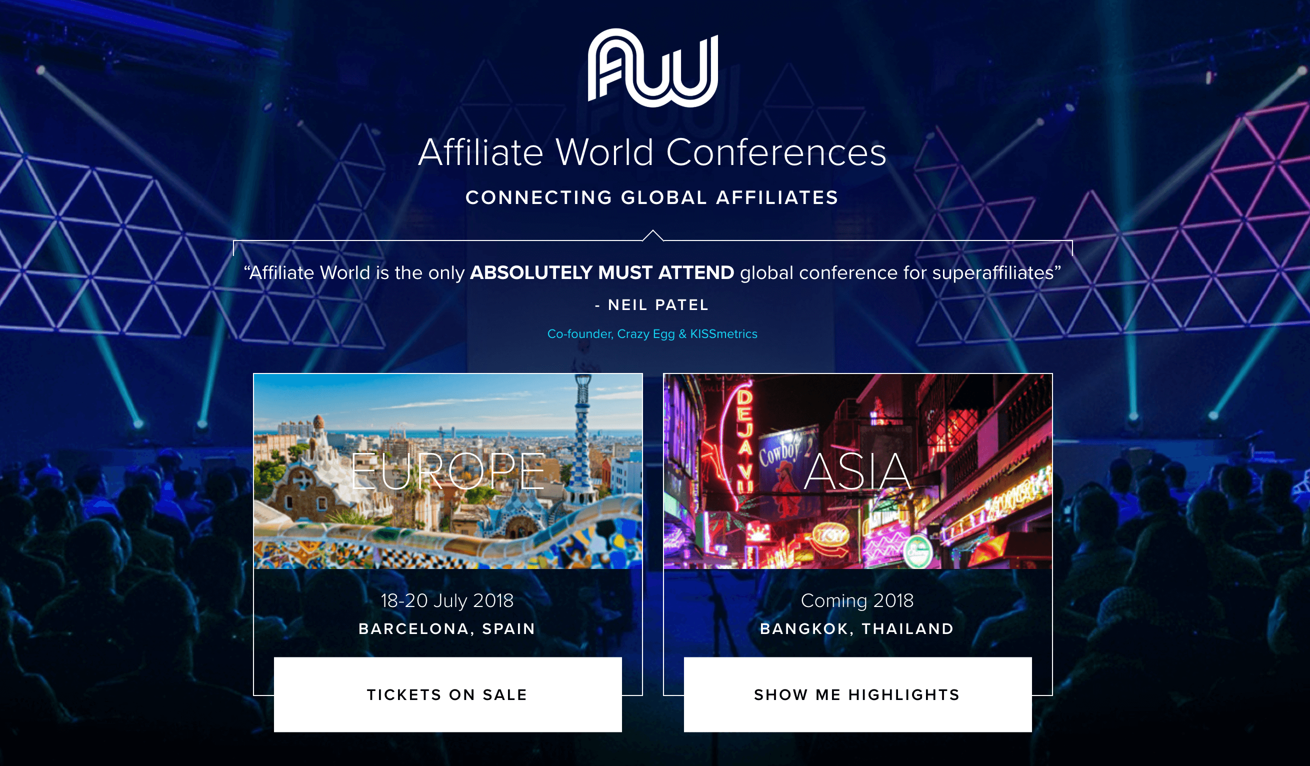 The Affiliate World conference's home page.