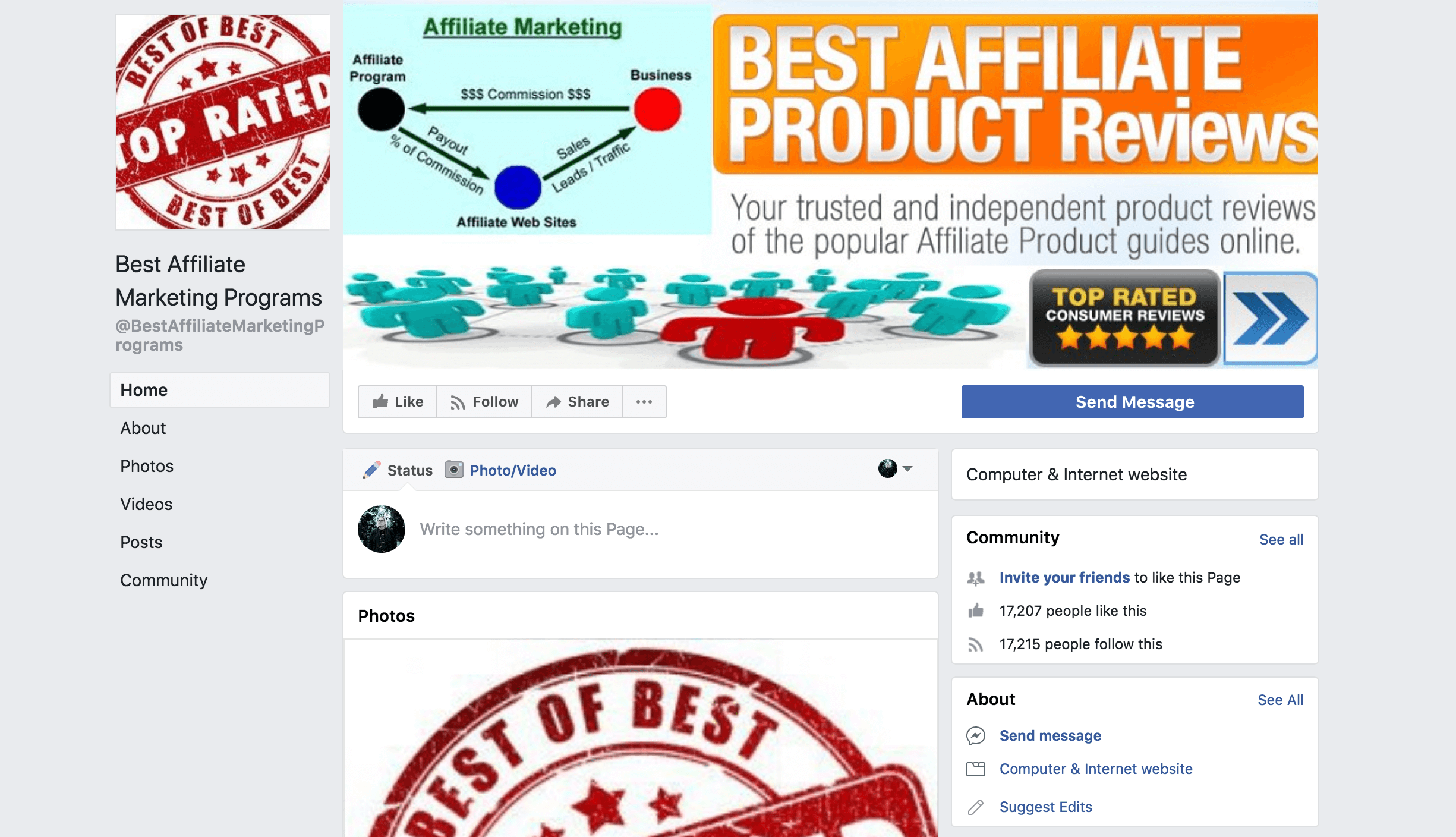 a Facebook group called Best Affiliate Marketing Programs.