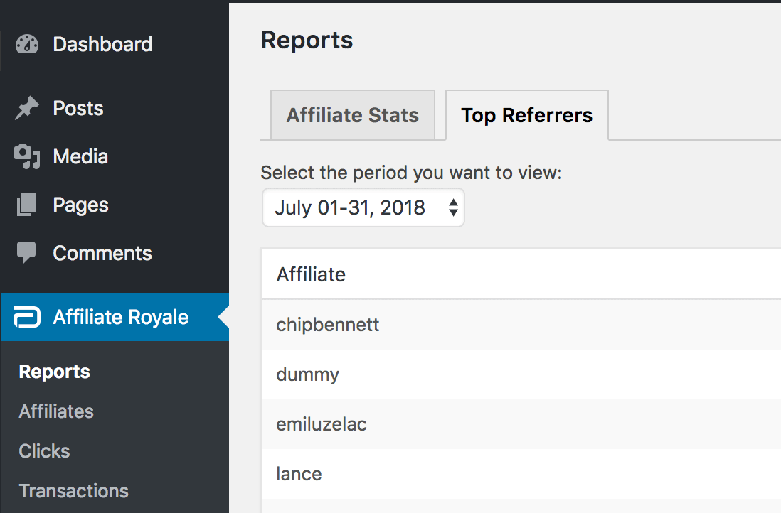 A list of Top Referrers in Affiliate Royale.