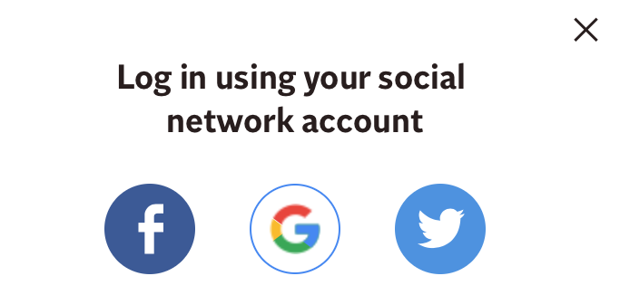 An example of a social login option on a website.
