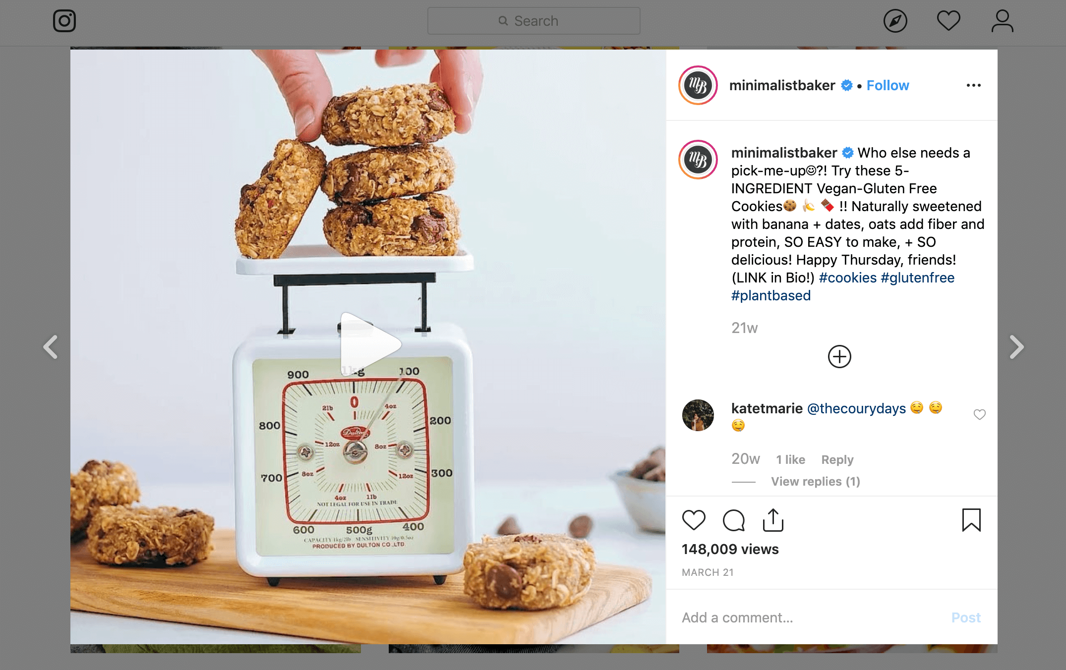 An example of an Instagram post with affiliate links.