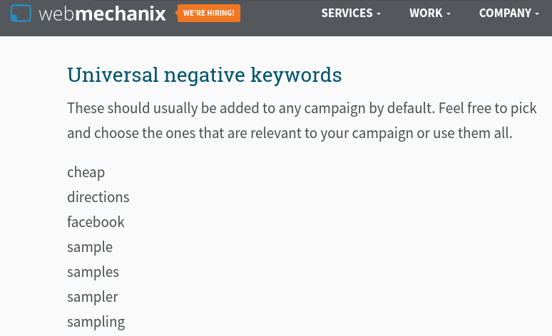 WebMechanix list of universal negative keywords.