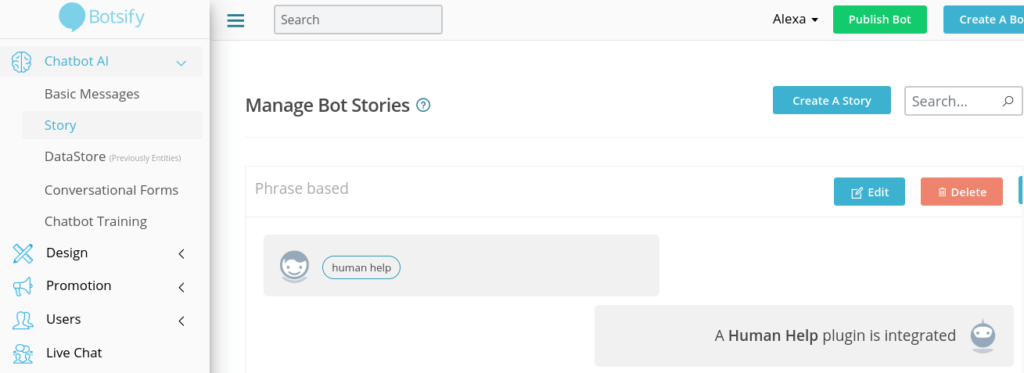 Botsify Story settings on dashboard.