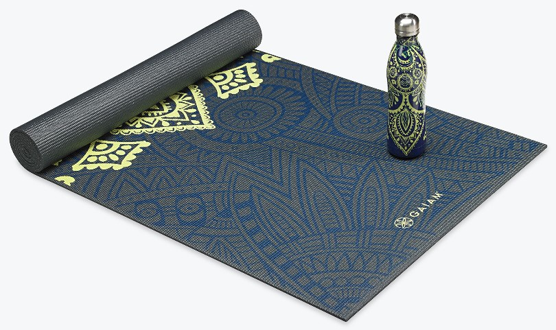 A branded yoga mat and matching water bottle.