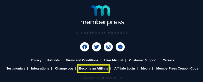 The footer of the MemberPress website.