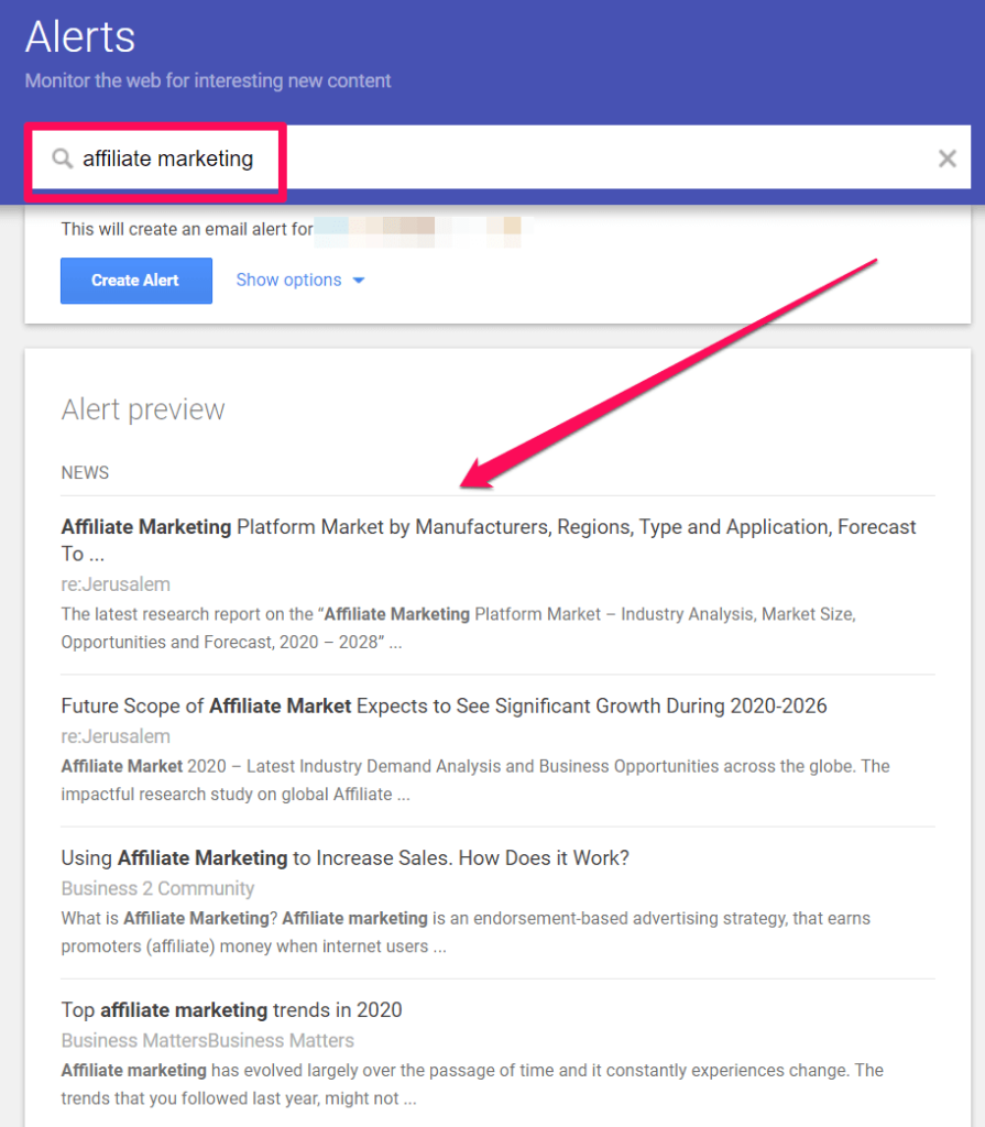 A Google Alerts search for affiliate marketing.