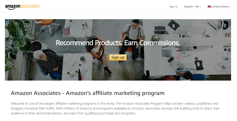 The Amazon Associates homepage.