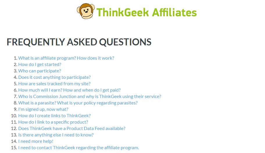 ThinkGeek affiliate FAQ page