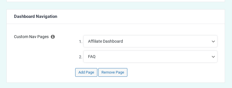 Easy Affiliate - add pages to the affiliate dashboard