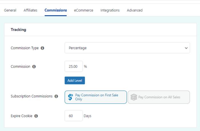 commission settings