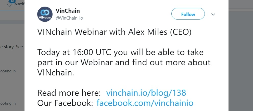 A webinar promotion example on Twitter