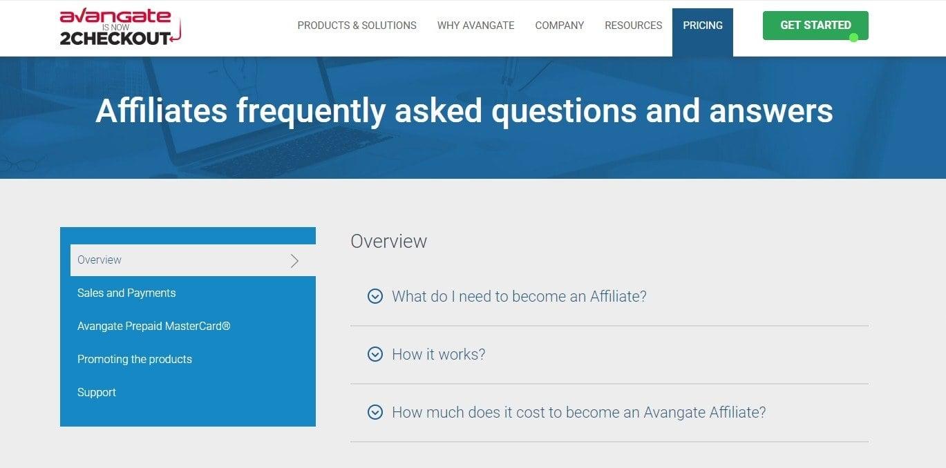 The Avangate affiliates FAQ page