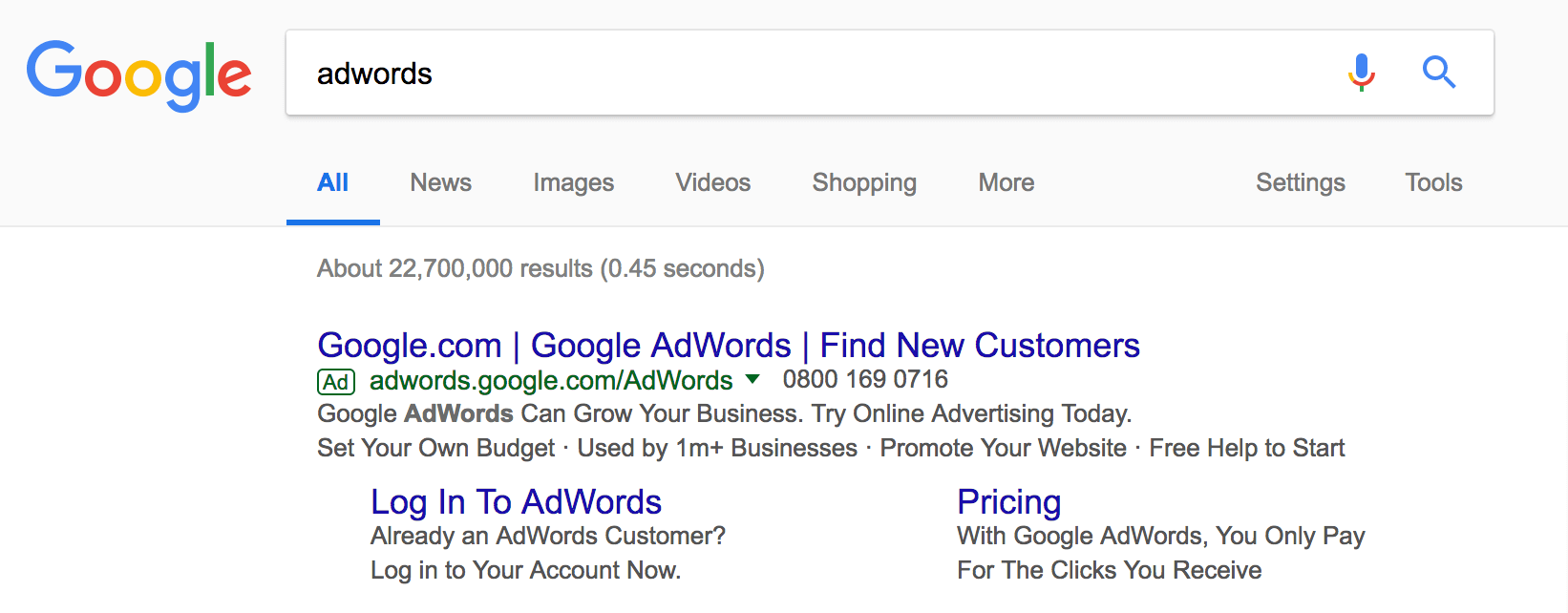 An example of Pay-Per-Click (PPC) advertising on Google.