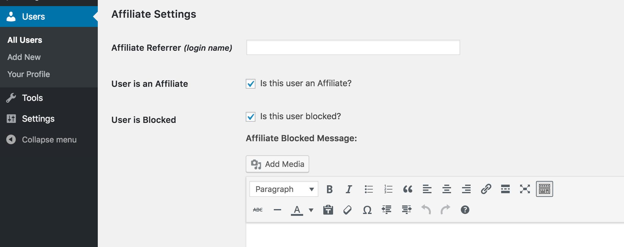 The User is Blocked setting in WordPress.