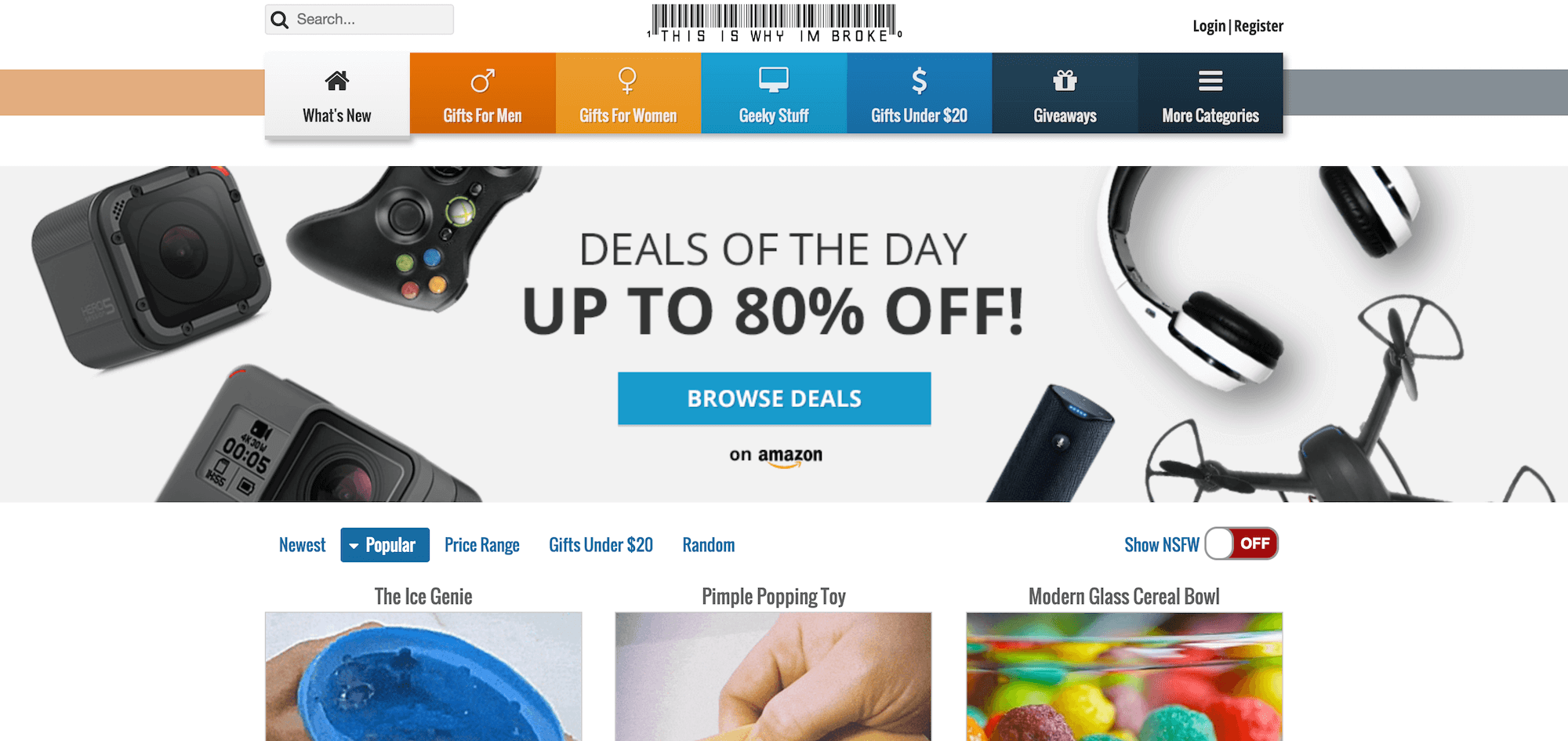The This Is Why I'm Broke home page.