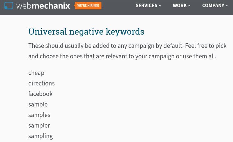 WebMechanix list of universal negative keywords.