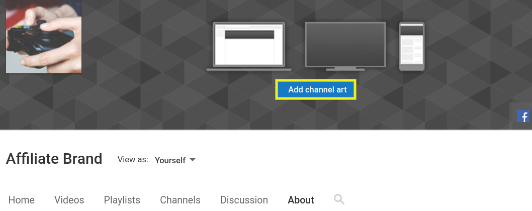 The Add channel art button on YouTube.