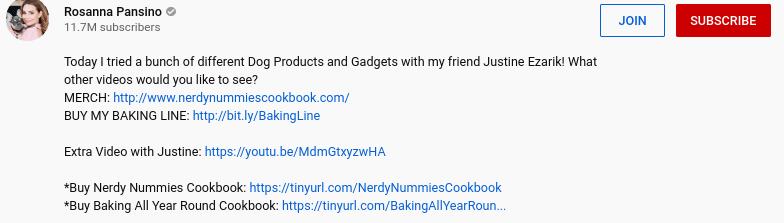 A YouTube video description containing affiliate links.