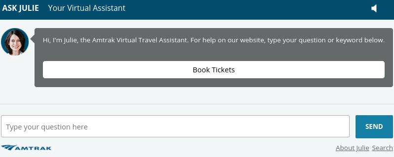 Amtrak virtual assistant chatbot.