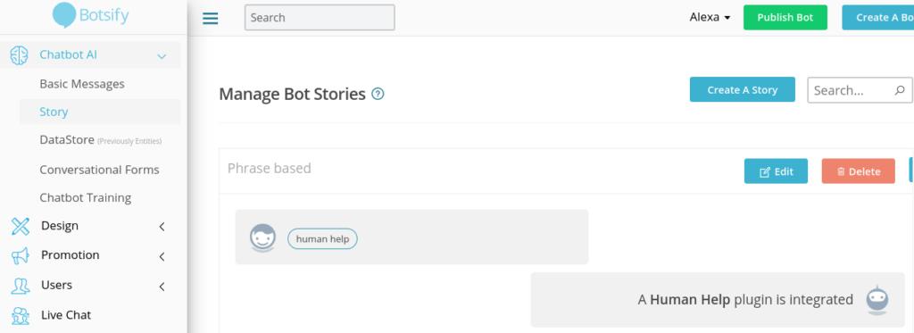 Botsify Story settings on dashboard.