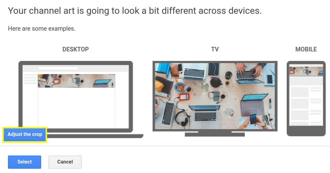 A YouTube channel art preview across devices.