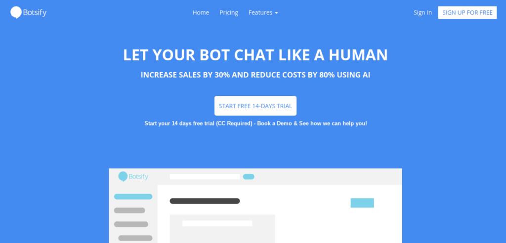 Botsify website homepage.
