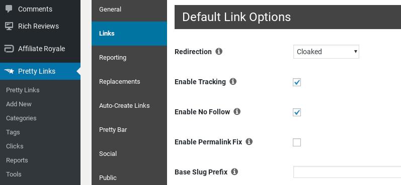 Pretty Link options in WordPress.