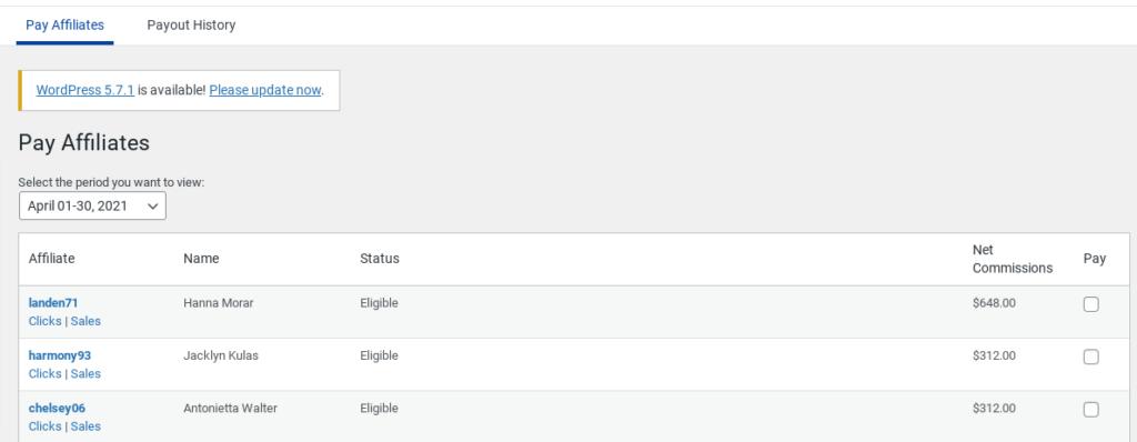 Easy Affiliate pay affiliates screen