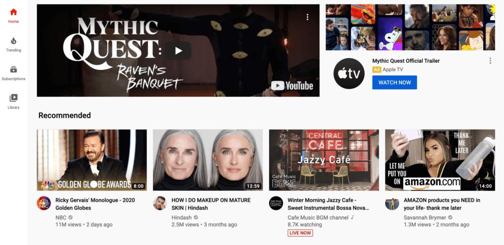 The YouTube homepage.