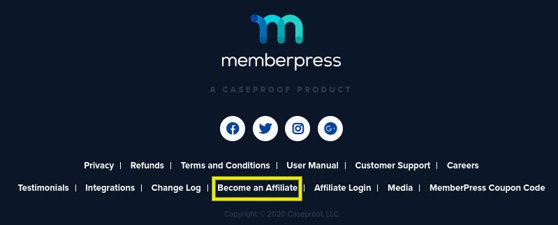 The footer of the MemberPress website.