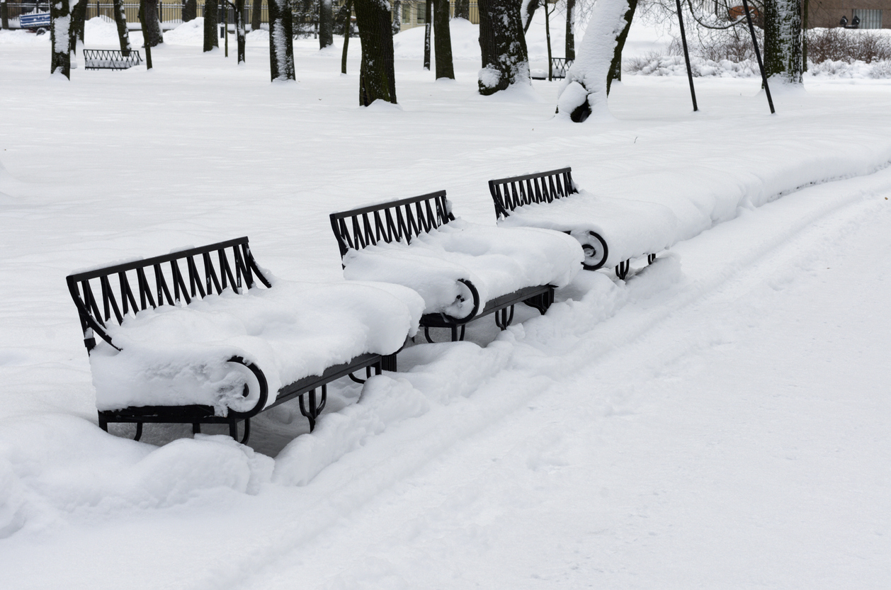 Winter scene with three benches covered in snow in a city park