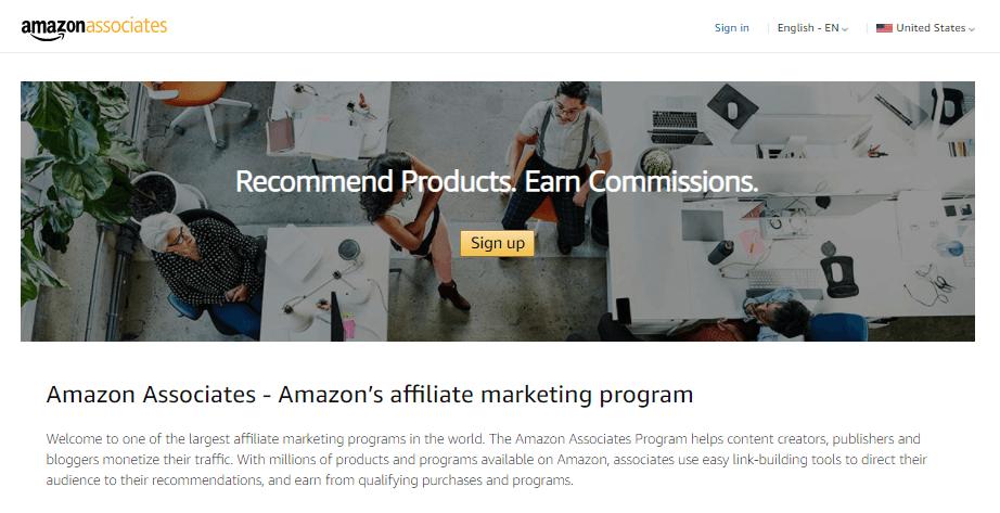 The Amazon Associates homepage.