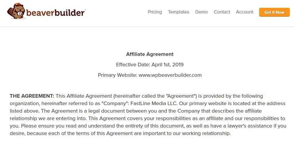 An Affiliate Agreement on Beaver Builder.