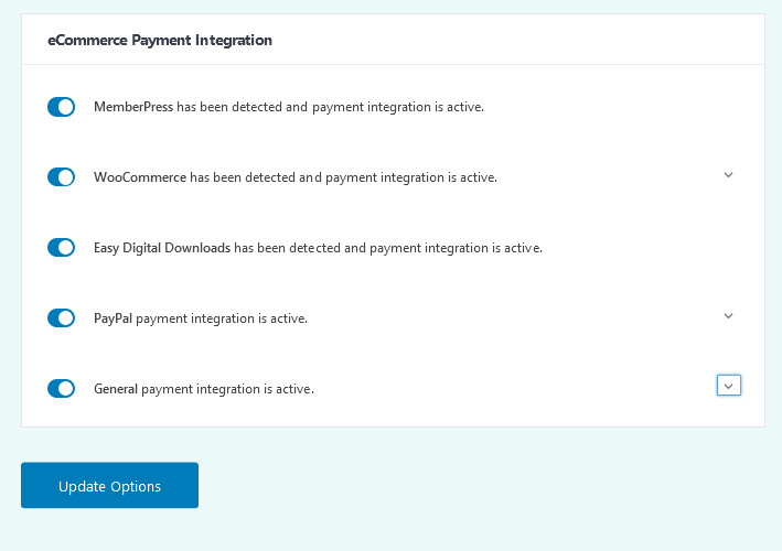 Easy Affiliate ecommerce tab when all integrations are detected