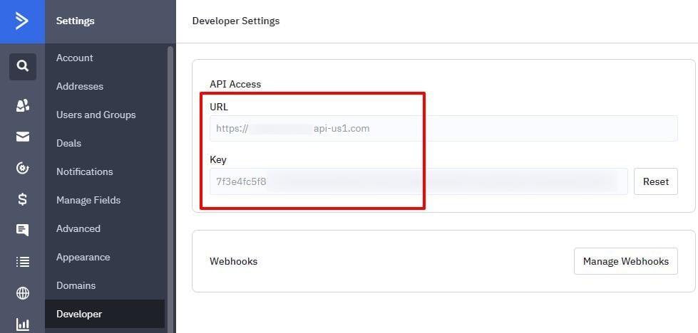 ActiveCampaign API key