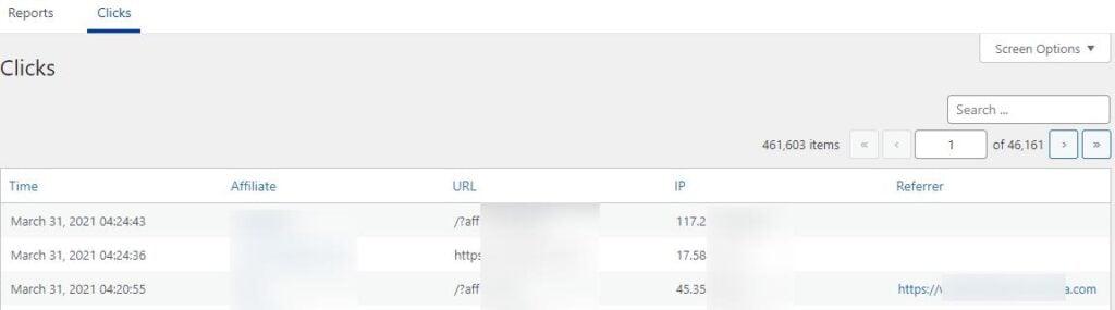 Easy Affiliates Clicks tab