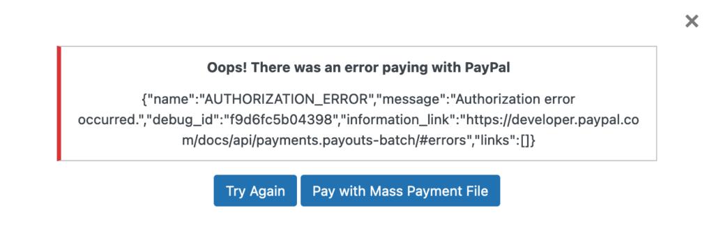1-Click PayPal Error