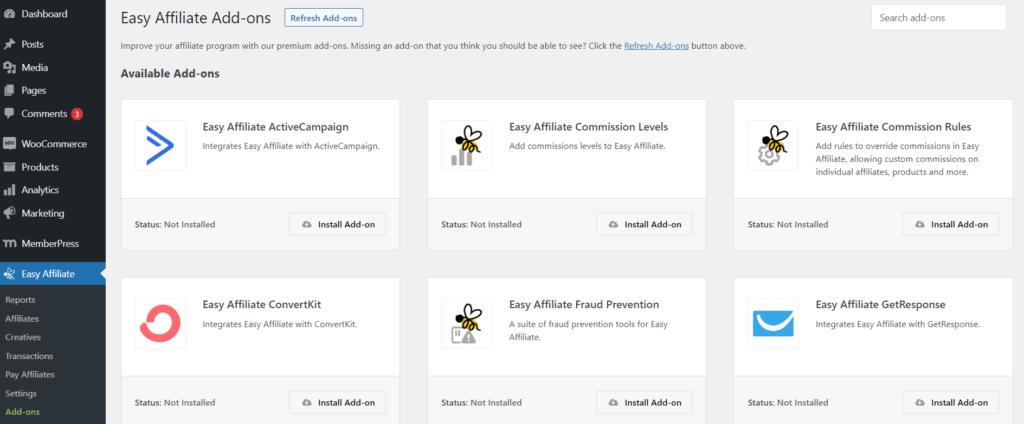 Easy Affiliate add-ons on WordPress