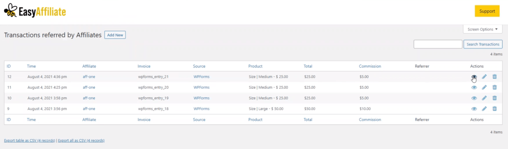 WPForms transactions recorded in the Easy Affiliate Dashboard